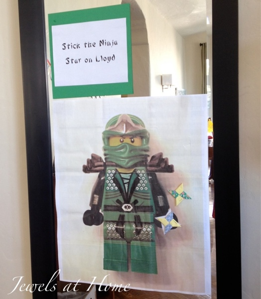 Stick the ninja star on Ninjago Lloyd.  Instructions and many more activities for a Ninjago birthday party from Jewels at Home.