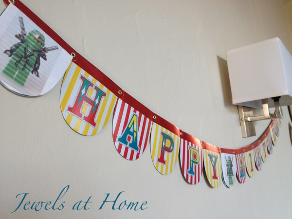 Ninjago birthday party blog post with customized decorations and tons of ideas.  {Jewels at Home}