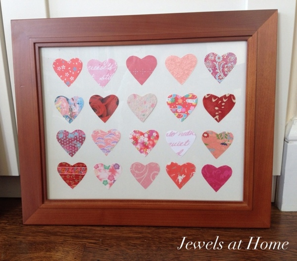 Simple and pretty DIY paper heart art.  A perfect way to enjoy your favorite pretty papers. {Jewels at Home}