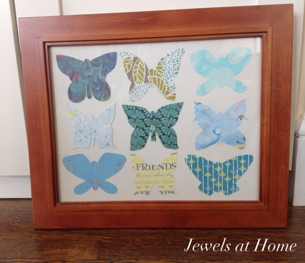 Simple and pretty DIY paper butterfly collection.  A perfect way to enjoy your favorite pretty papers. {Jewels at Home}