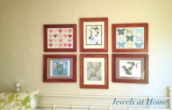 Create an inspiring art gallery with a mix of DIY paper art, framed papers, and pretty prints. {Jewels at Home}