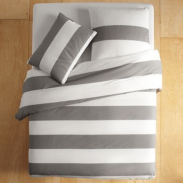 West Elm wide stripe duvet cover.