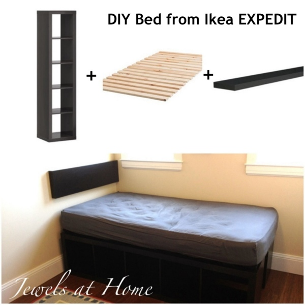 ikea expedit hack compact storage bed jewels at home. Black Bedroom Furniture Sets. Home Design Ideas