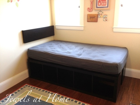Awesome Ikea hack.  DIY compact bed with tons of storage, using Ikea EXPEDIT.  {Jewels at Home}