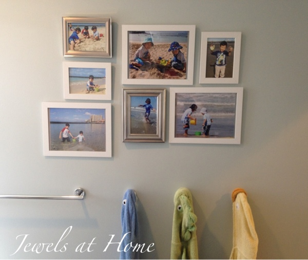 Hawaiian beach-inspired bathroom.  Shared kids and guest bathroom.  {Jewels at Home}