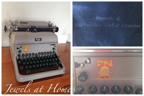 Vintage typewriter - great prop for a Mad Men party! Complete list of party ideas in this blog post.  {Jewels at Home}