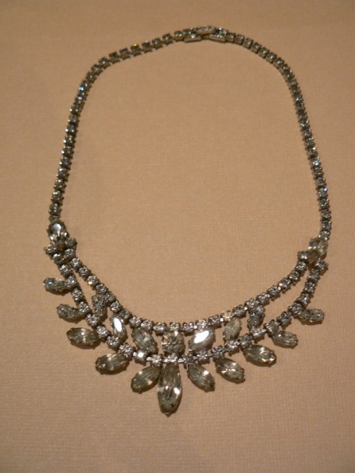 Art Deco rhinestone necklace. Fab collection of ideas for a Mad Men party. {Jewels at Home}
