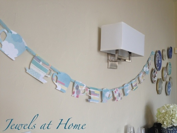 Cute paper tea cup garland for a vintage afternoon tea party.  {Jewels at Home}