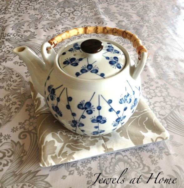 Fabric trivet for a romantic afternoon tea party.  {Jewels at Home}