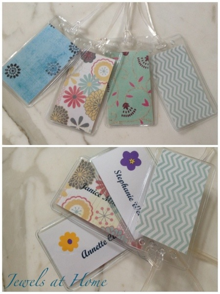 DIY luggage tags with beautiful paper backs.  Party favors for a charming afternoon tea party.  {Jewels at Home}