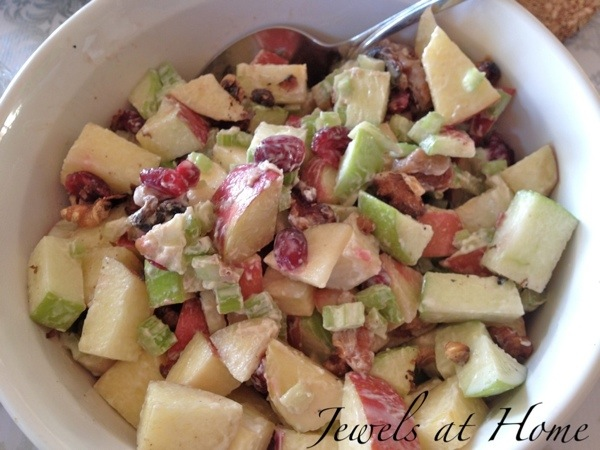 Mad Men party menu.  Contemporary Waldorf salad with dried cranberries | Jewels at Home