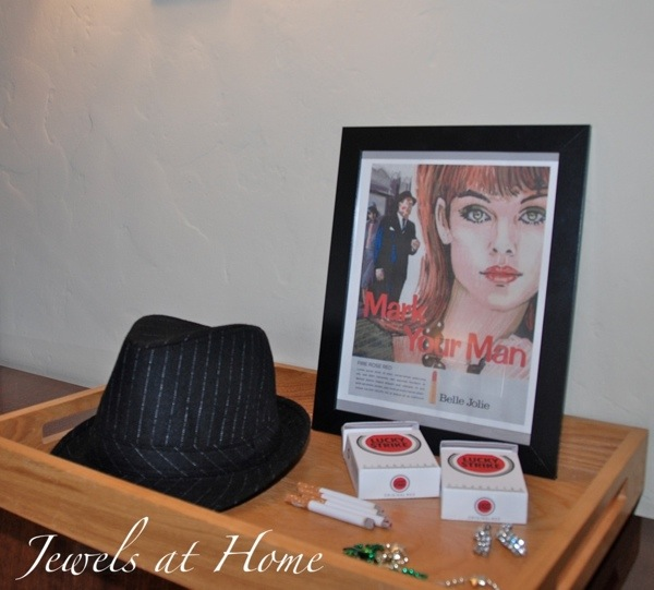 Mad Men party.  Photo booth accessories   Jewels at Home