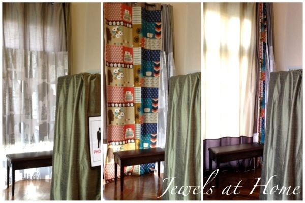 Mad Men party.  DIY photo booth with three fun backgrounds hanging on a curtain rod | Jewels at Home
