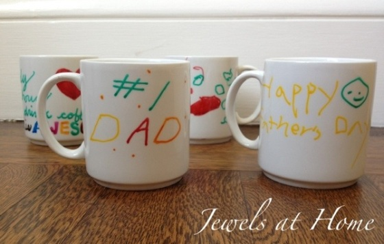Use ceramic paint pens for vibrant durable art on plain cups.  Father's Day gifts.  Jewels at Home