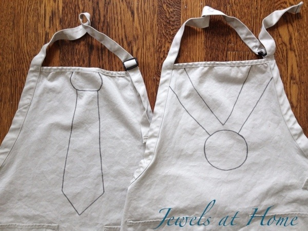 "Decorate ""tie"" and ""medal"" aprons for Father's Day.  Templates to make unique gifts for dad from kids 