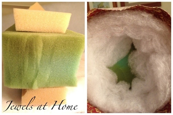 Pillows for dressing a daybed.  Instructions for sewing round bolster pillows.  Jewels at Home