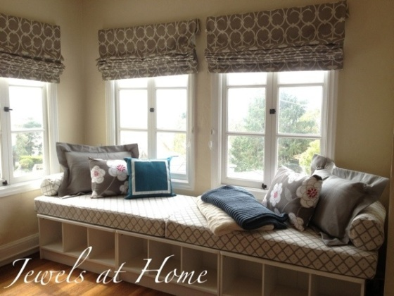 A perfect sunny spot for an elegant window seat daybed.  Instructions for sewing the pillow covers.  Jewels at Home
