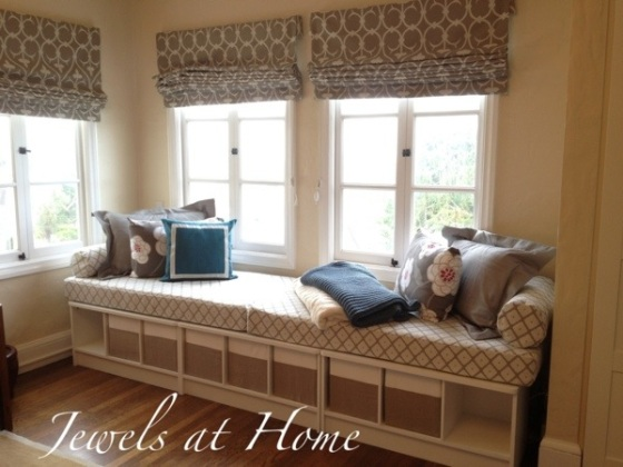 This window seat daybed is so inviting and simple to assemble.  Details on this DIY project from Jewels at Home.