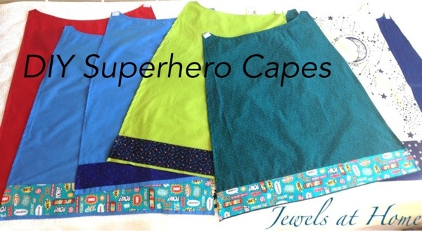 DIY Superhero capes for a birthday party! Jewels at Home