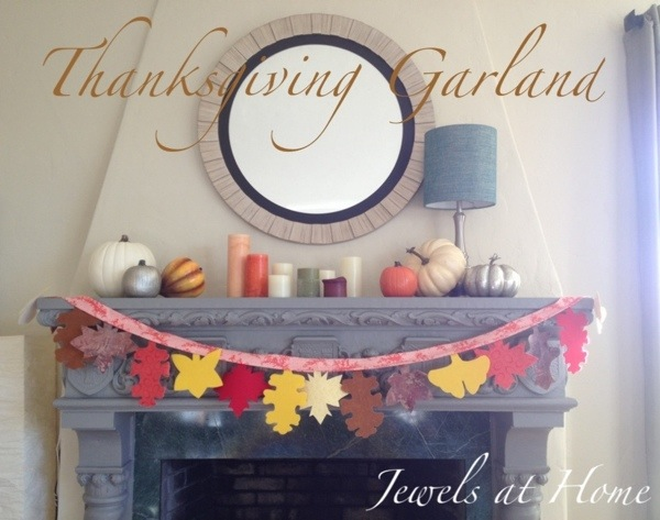 A charming fall garland made of fabric leaves.  Over the years, each family member can record a Thanksgiving reflection on the back of a leaf to create a special tradition.  Jewels at Home.