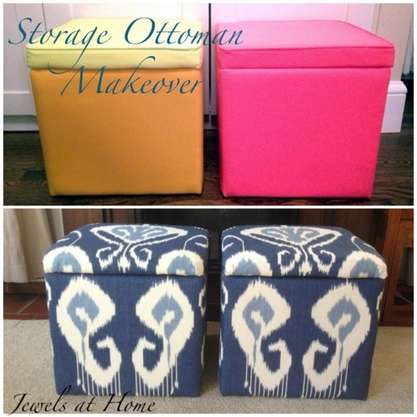 DIY storage ottoman makeover.  An elegant transformation for these $9.99 storage cubes.  Jewels at Home.
