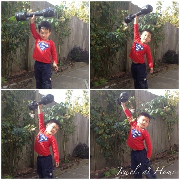 "Superman birthday party with lots of DIY ideas, including this ""barbell"" 