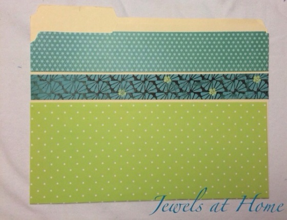 Beautify your office.  Use scrapbook paper to turn plain file folders into works of art   Jewels at Home