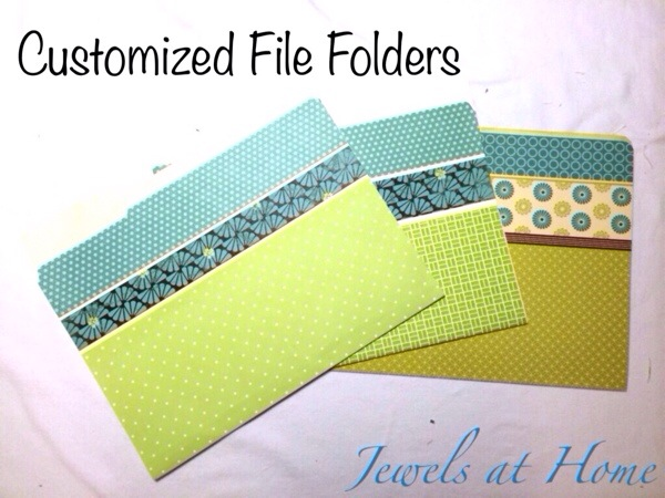 Beautify your office.  Use scrapbook paper to turn plain file folders into works of art | Jewels at Home