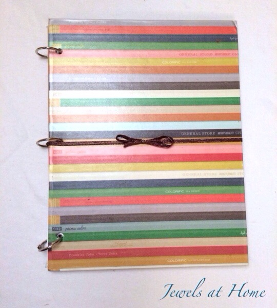 Make your own customized DIY notebooks covered in scrapbook paper or fabric.  A beautiful way to organize loose papers | Jewels at Home