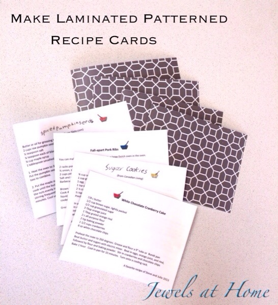 DIY laminated recipe cards.  Pair these pretty cards with something for the kitchen to make a lovely hostess or teacher gift  | Jewels at Home