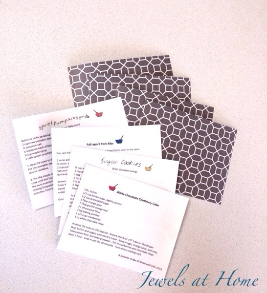 DIY laminated recipe cards.  Pair these pretty cards with something for the kitchen to make a lovely hostess or teacher gift    Jewels at Home
