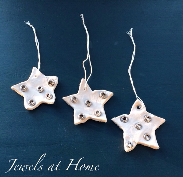 Homemade clay Christmas ornaments to make with the kids.  These are simple and beautiful!  Jewels at Home
