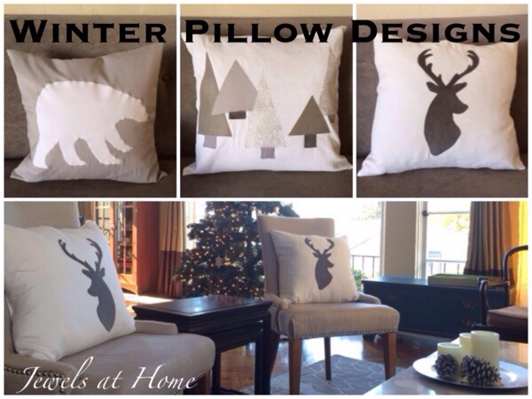 Polar bear, snowy forest, and reindeer pillows in a simple white and gray color scheme for Christmas and the whole winter | Jewels at Home