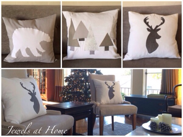 Holiday decorating.  Polar bear, snowy forest, and reindeer pillows for Christmas and the whole winter | Jewels at Home