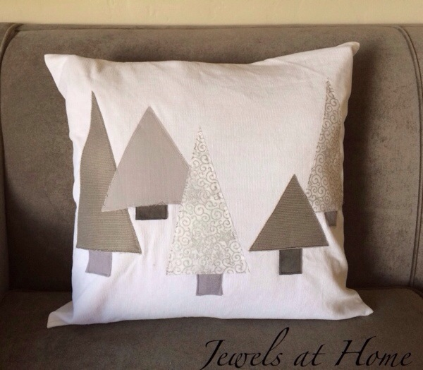 Snowy forest pillows in a simple white and gray color scheme for Christmas and the whole winter | Jewels at Home
