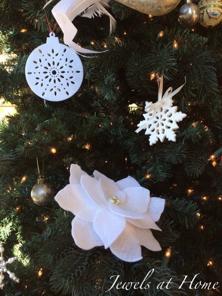 Decorating for a white Christmas.  DIY felt poinsettia ornaments and more ideas | Jewels at Home