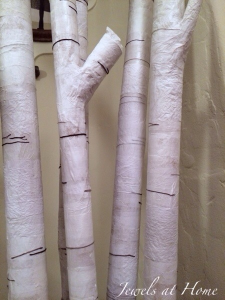 So cool!  Transform cardboard and paper into faux birch branches for a beautiful display | Jewels at Home