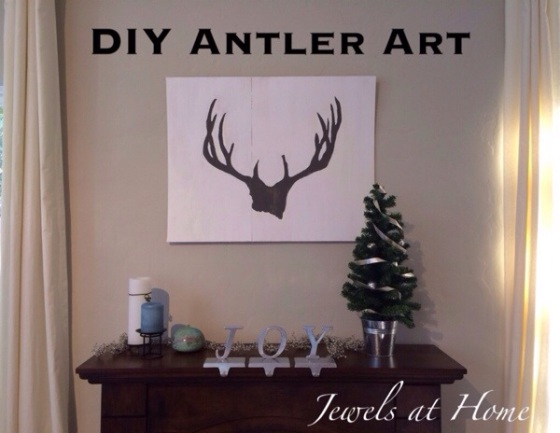 Decorating for a white and woodsy Christmas.  DIY reindeer antler painting | Jewels at Home