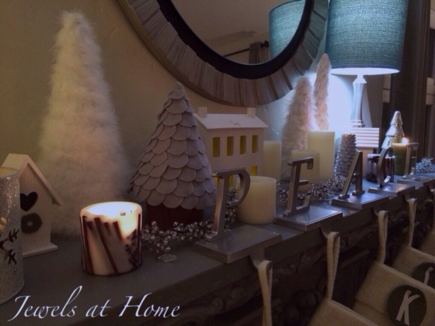 Winter wonderland.  Christmas mantel in white | Jewels at Home