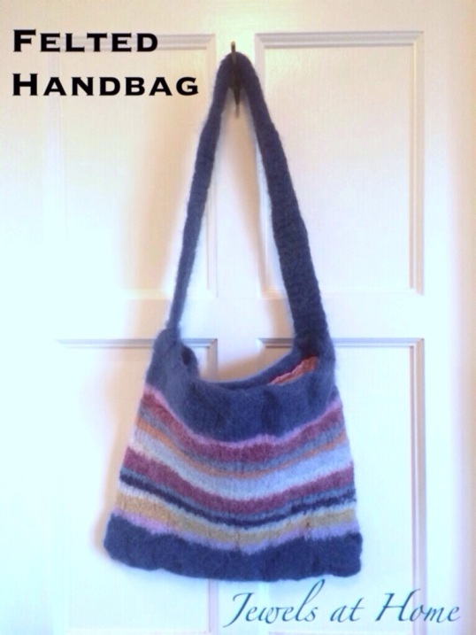Knitted felted handbag with colorful stripes | Jewels at Home