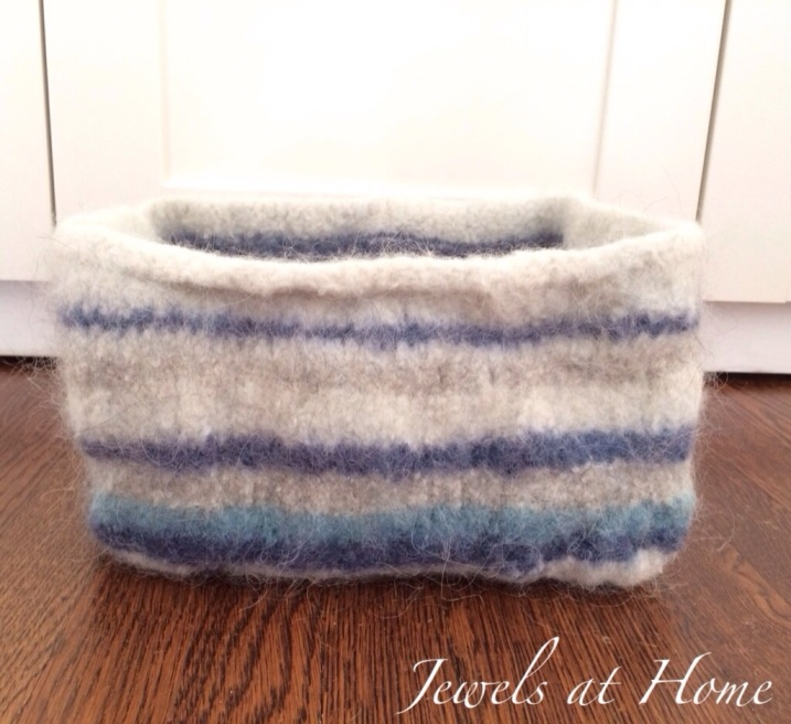 Pretty knitted and felted wool storage basket | Jewels at Home