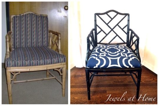 Sharp-looking Chippendale chair makeover with glossy black paint and a geometric seat fabric | Jewels at Home