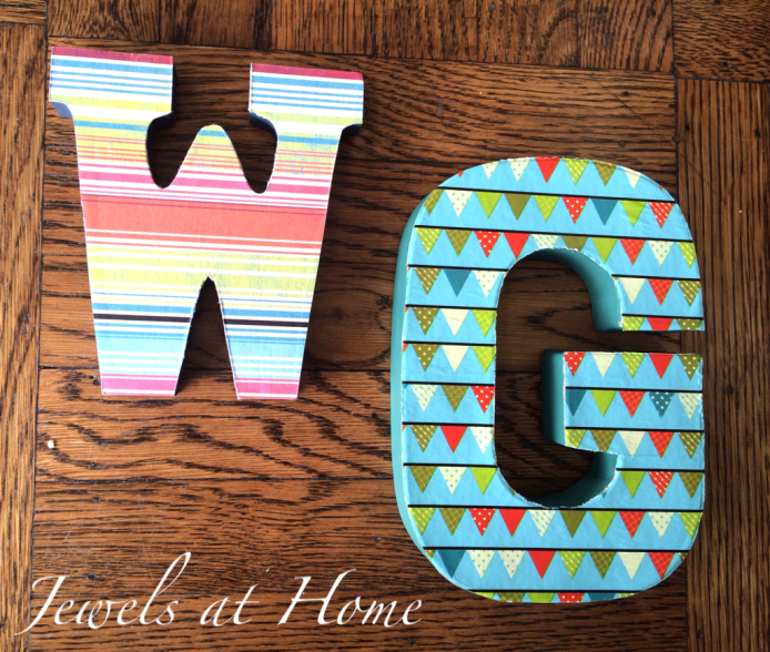 Baby shower idea: decorate letters to create a one-of-a-kind alphabet for baby's nursery! Jewels at Home