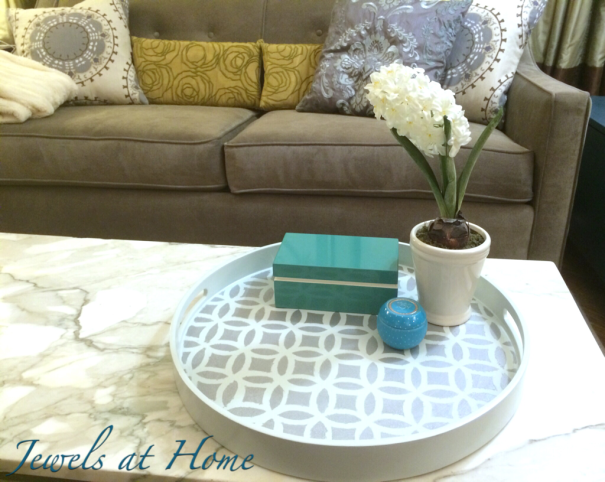 Elegant overlapping circles painted tray in silver and blue   Jewels at Home