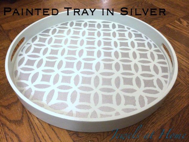 Elegant overlapping circles painted tray in silver and blue | Jewels at Home