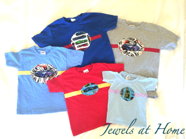 Mix-and match fabrics to create these fun Hot Wheels-themed T-shirts | Jewels at Home