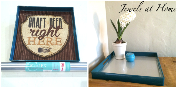 Transform a decorative tray with stainless steel contact paper | Jewels at Home
