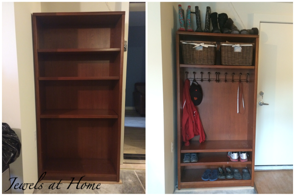 Mudroom locker made from a repurposed bookcase | Jewels at Home