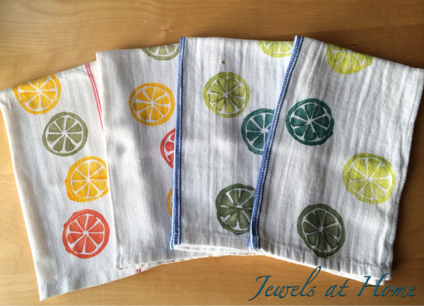 DIY Hand-Stamped Tea Towels | Jewels at Home