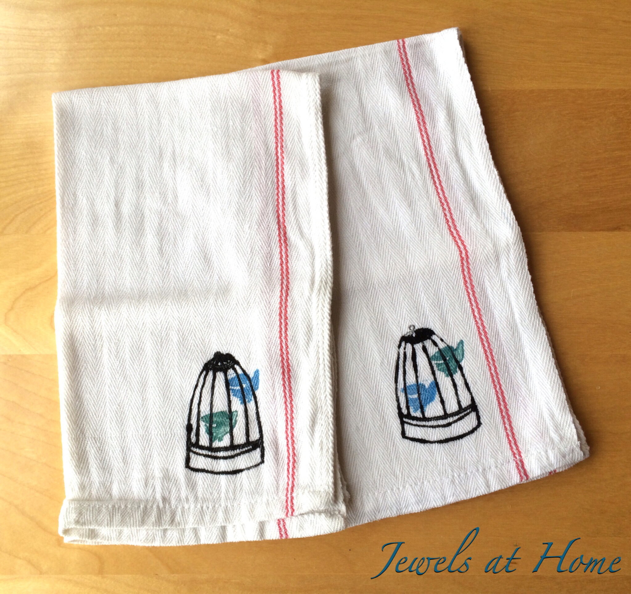 DIY Hand-Stamped Tea Towels – Teacher Holiday Gifts | Jewels at Home